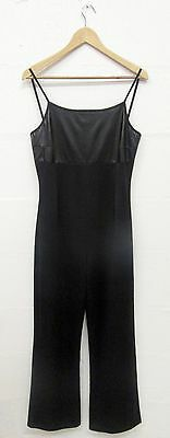 VINTAGE GLAM 90s BLACK WET LOOK WIDE LEG LYCRA JUMPSUIT ALL IN ONE SIZE 10