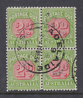 POSTAGE DUE:  2d  CARMINE AND GREEN    SG D107    USED  BLOCK OF 4  PERF 11 COFA