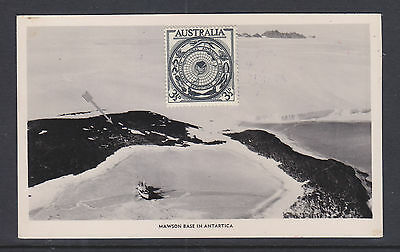 Antarctic Post Card 1954 Cancelled On The First Day At Mawson Post Office.