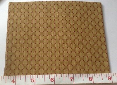 Dolls House Cotton Caramel/ Burgundy For Miniature Curtains 9 x 11