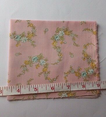 Dolls House Cotton PINK MULTI FLORAL For Miniature Curtains 9 x 11