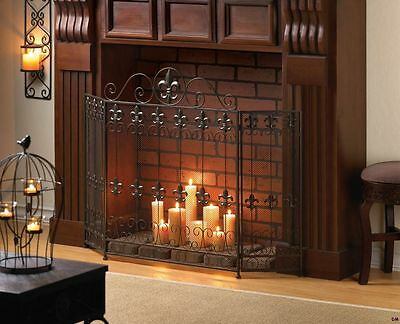 French Revival Fluer de Lis Fireplace Screen Wrought Iron