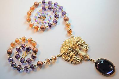 Vtg Raw Brass Necklace Art Nouveau Revival Cornflower  Czech Glass Handmade