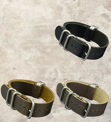 Bracelet CUIR NATO ZULU 5 boucles military leather strap 20mm 22mm 24mm PAM