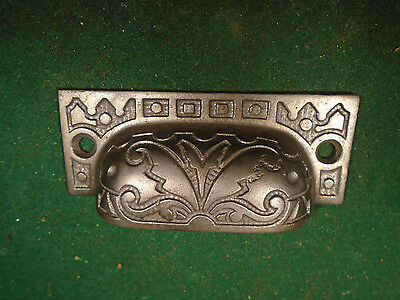 Vintage Eastlake Drawer / Bin Pull - Cast Steel, Beautiful   (8624)