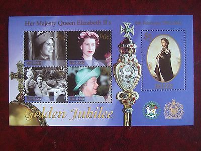 BELIZE 2002 QUEENS GOLDEN JUBILEE 5v  M/S MINT MNH