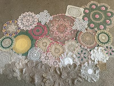 Vintage collection 33 Doilies Crocheted Handmade Pretty Shaby Chic