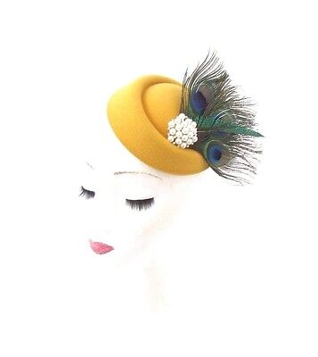 Mustard Yellow Statement Peacock Feather Pillbox Hat Hair Fascinator Races 3066