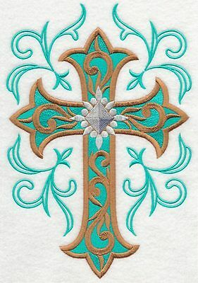 Embroidered Cross & filigree swirl quilt block,fabric,panel,gift,religion,cross