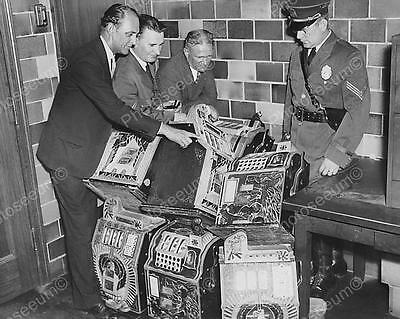 """Examing Confiscated Slot Machines   8"""" - 10"""" B&W Photo Reprint"""