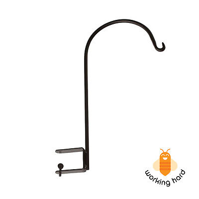 PLANT HANGING BRACKET Deck Mount Metal Shepherd Hook Black Heavy Duty Garden
