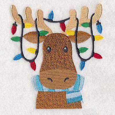 Embroidered Merry moose quilt block,xmas fabric,cushion panel, christmas