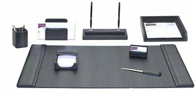 DACS-D1012-Dacasso Leather Desk Set, 8-Piece, Black