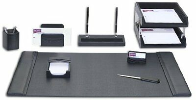 DACS-D1020-Dacasso Leather Desk Set, 10-Piece, Black