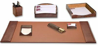 DACS-D2004-Dacasso Brown Crocodile Embossed Leather Desk Set, 7-Piece