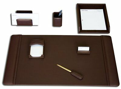 DACS-D3404-Dacasso Leather Desk Set, 7-Piece, Chocolate Brown