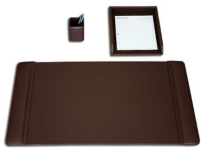 DACS-D3437-Dacasso Leather Desk Set, 3-Piece, Chocolate Brown