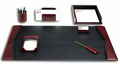 DACS-D7004-Dacasso Burgundy Leather Desk Set, 7-Piece