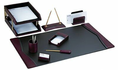 DACS-D7020-Dacasso Burgundy Leather Desk Set, 10-Piece