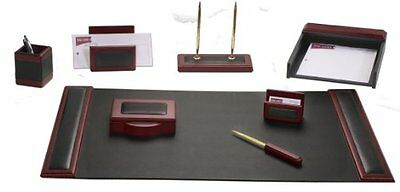 DACS-D8012-Dacasso Rosewood and Leather Desk Set, 8-Piece