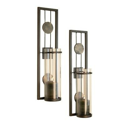 DANY-QBA636- Contemporary Metal Candle Sconce Pillar Candle Holder Set - 2 Pc