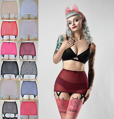 6 Strap V Clip Girdle Vintage Pin up Power Mesh Suspender Roll On shapewear