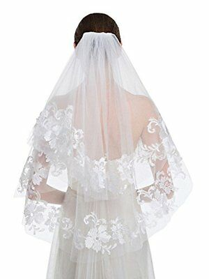 Edith qi New Elegant 2 Tier Fingertip Bridal Veils Lace Embroidery Edge with