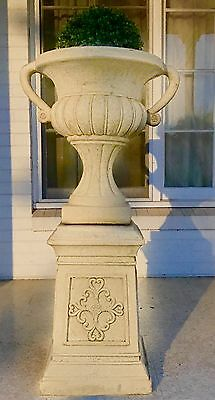 Garden Urn Concrete Extra Large With Topiary On Magnificent Pedestal-Two Piece