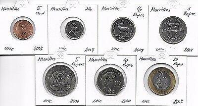 Mauritius KMS  5, 20 Cents, 1/2, 1 Rupee, 5, 10 ,20 Rupees 2000-2009 UNC