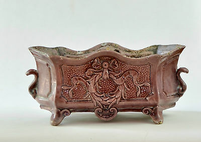 Antique French Cast Iron PINK Enameled Jardiniere Cachepot Planter 19thC RARE