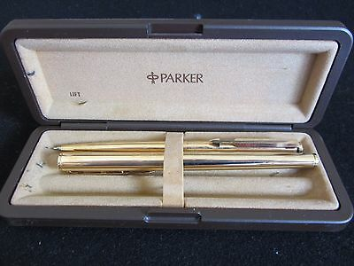 Vintage GOLD Parker Arrow Propelling Pencil and Roller Ball in presentation case