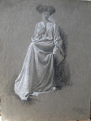 Antique Drawing In Pastel Signed and Dated