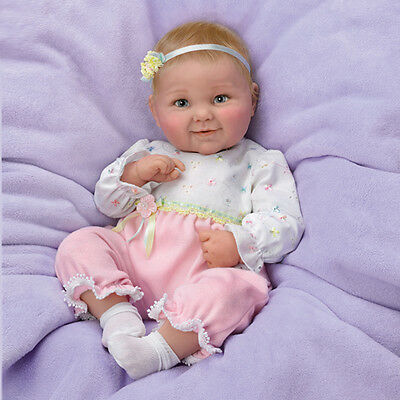 Ashton Drake - SWEET CHEEKS Touch-Activated Baby Girl Doll by Cheryl Hill