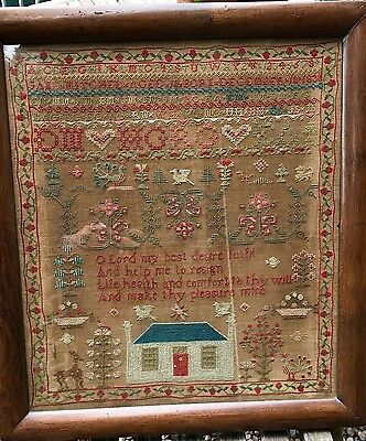 Antique Embroidered Sampler Dated 1834 Jane Mitchell Aged 10