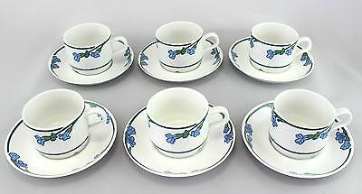6 x Rorstrand Ingrid coffee cups Jackie Lynd Floral Swedish pottery