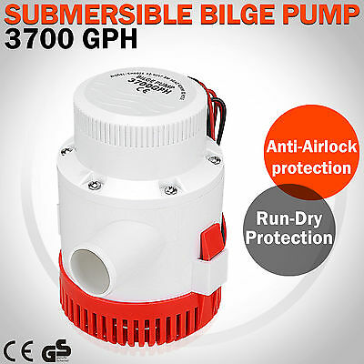 New 12V 3700GPH Electric Submersible Water Bilge Pump Marine Boat Yacht Plumbing