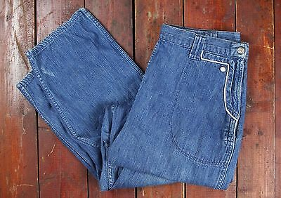 VTG 40s 50s HIGH WAIST SIDE ZIP DENIM ROCKABILLY JEANS PANTS PIN UP USA W31 M/L