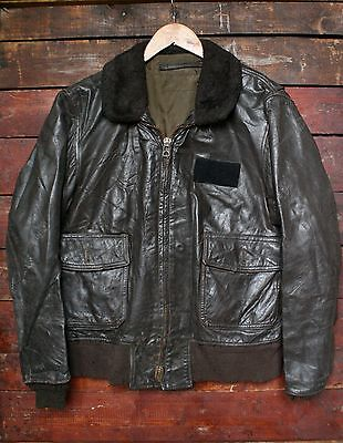 VTG 60s 70s US NAVY TYPE G-1 GOATSKIN LEATHER BOMBER FLIGHT JACKET USN 42