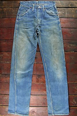 VTG 50s 60s WRANGLER BLUE BELL SANFORIZED DENIM JEANS ORIGINAL WORK USA W27 L34