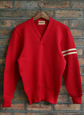 VTG 50s DEHEN RED KNIT WORSTED WOOL UNIVERSITY VARSITY SWEATER COLLEGE USA SMALL