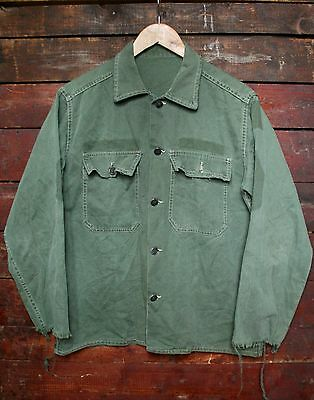 WWII WW2 US ARMY GREEN COTTON 13 STAR LIGHTWEIGHT FIELD SHIRT VTG 40s MILITARY M
