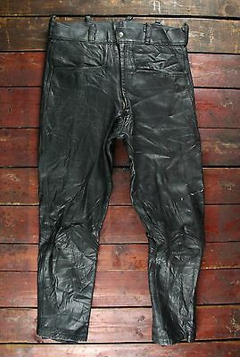 VTG 80s BELSTAFF BLACK SHEEP LEATHER MOTORCYCLE TROUSERS BIKER PANTS W31 L27
