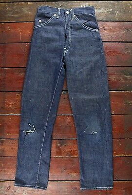 VTG 60s LEVI'S BIG E WHITE TAB SADDLEMAN DENIM JEANS USA BOYS YRS 8-9 W21 L25
