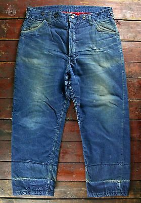 VTG 50s 60s WARDS POWR HOUSE UNION MADE DENIM CARPENTER WORK JEANS USA W37 L28