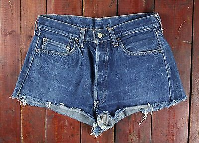 VTG 70s LEVI'S 501 LITTLE E REDLINE SELVEDGE INDIGO DENIM JEAN SHORTS USA 12 W31