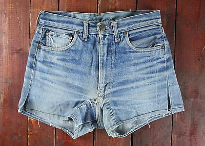 VTG 60s LEVI'S 501 BIG E REDLINE SELVEDGE DENIM JEAN SHORTS USA SMALL 8 W27