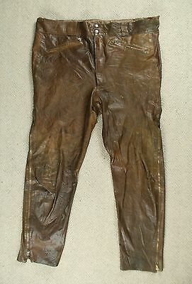 VTG 60s HARLEY DAVIDSON BROWN LEATHER MOTORCYCLE PANTS TROUSERS USA 3XL W44 L31