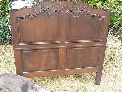 Pretty Antique French Normandy Carved Solid Oak  Single Headboard Great Painted