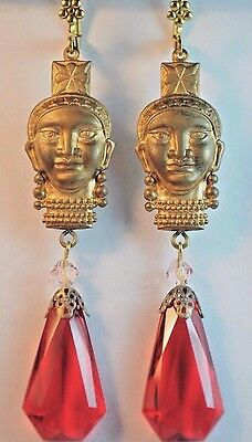 Vtg Raw Brass Earrings Art Nouveau Massai Tribal Red Czech Glass Handmade