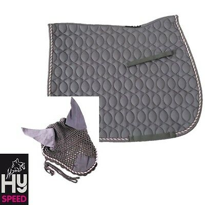 HySPEED Deluxe Saddle Pad and Ear Net/Hood – COB/FULL – GREY with Cord Binding